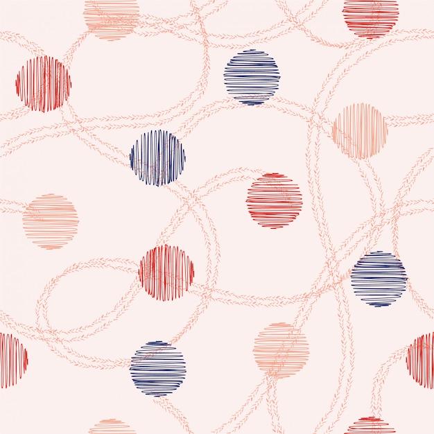 Gezeichneter kreis und tupfen des nahtlosen mustervektors hand mit hand gezeichneter doppelter linie gelegentlich. design für mode, stoff, web und alle drucke Premium Vektoren