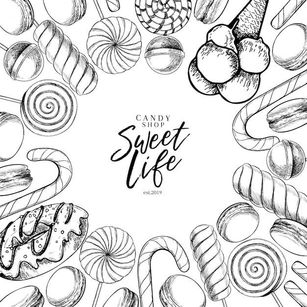 Gezeichneter satz des vektors hand süße süßigkeiten. verdrehte karamell lutscher, zuckerstange, macarons, donut. Premium Vektoren