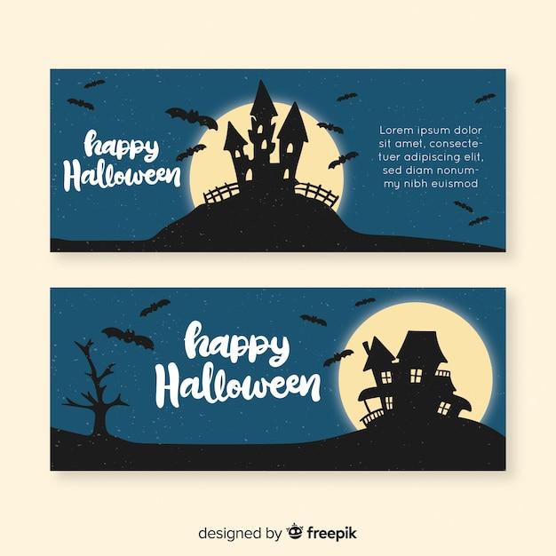 Gezeichnetes design der halloween-fahnenschablone hand Kostenlosen Vektoren