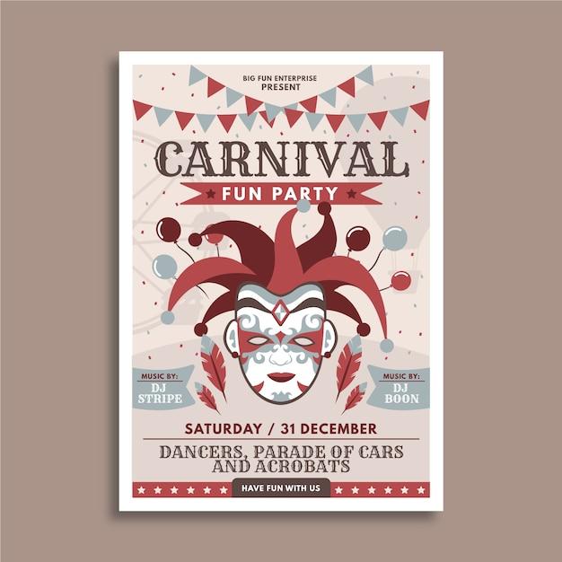 Gezeichnetes design des karnevalspartyfliegers hand Kostenlosen Vektoren