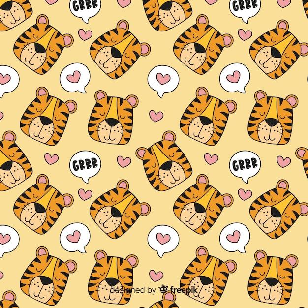 Gezeichnetes design des tigermusters hand Kostenlosen Vektoren