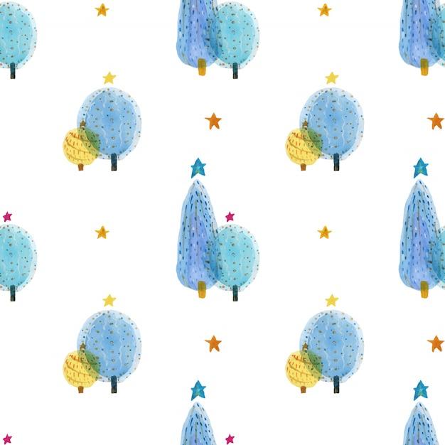 Gezeichnetes nahtloses muster des aquarells des weihnachtsbaums hand Premium Vektoren