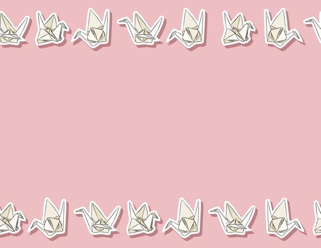 Gezeichnetes nahtloses muster des origamipapierschwans hand in den pastellfarben Premium Vektoren