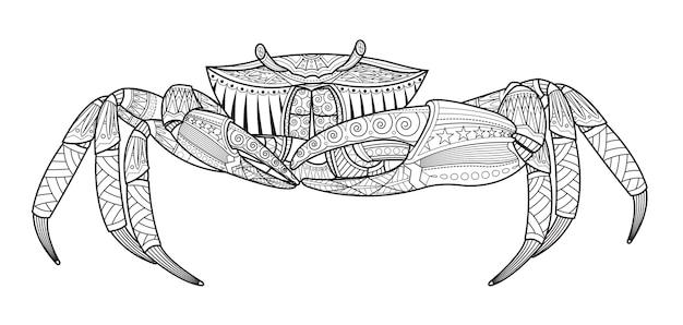 Gezeichnetes seetier der krabbe hand Premium Vektoren