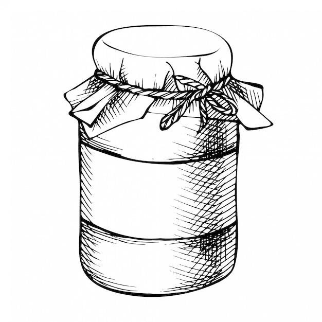 Gezeichnetes weckglas der skizzentinte hand, flasche. konservenglas des dekorativen glases der weinlese lokalisiert auf weiß. Premium Vektoren