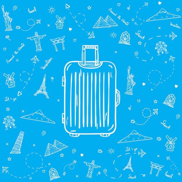 Gezogenes gepäck mit reiseelementen Premium Vektoren