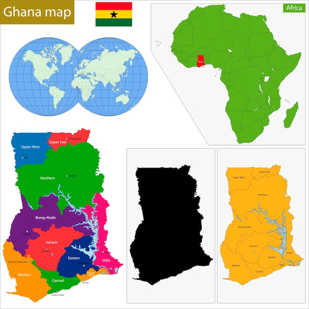 Ghana Karte.Ghana Karte Download Der Premium Vektor