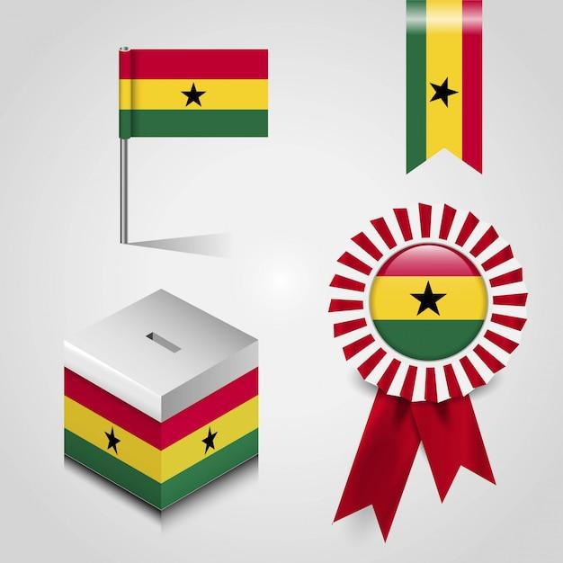 Ghana landesflagge Premium Vektoren