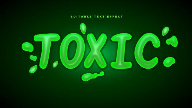 Giftiger 3d-textstil-effekt Premium Vektoren
