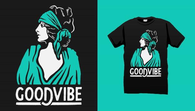 Gipsy woman t-shirt design mit zitaten Premium Vektoren