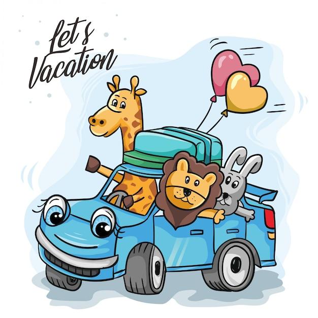 Giraffen und Freunde auf Reisen Premium Vektoren