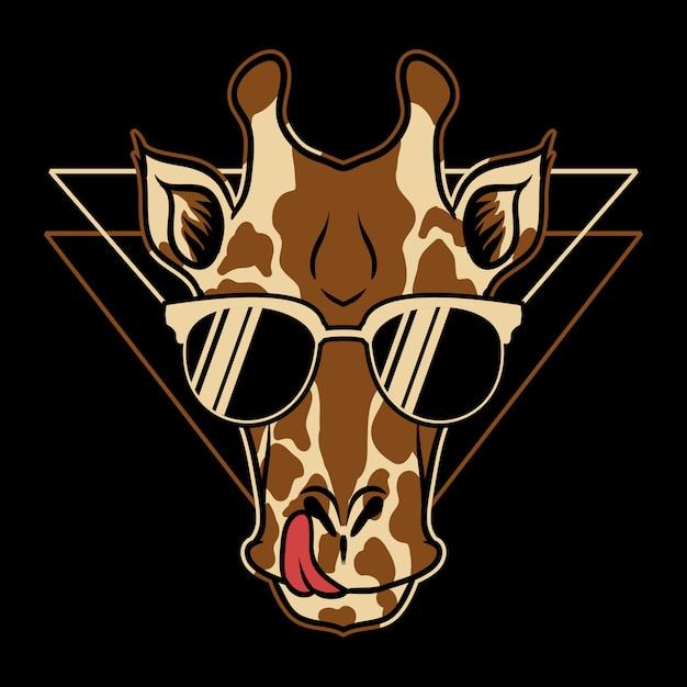 Giraffenbrillen-karikaturillustration Premium Vektoren