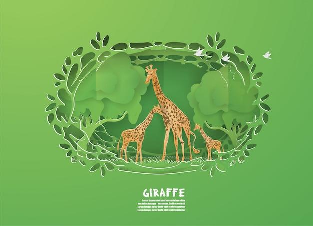 Giraffes-familie im grünen wald auf natur, tieren, wild lebenden tieren. Premium Vektoren