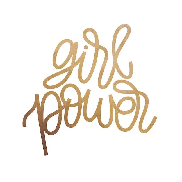 Girl power - inspirierende zitat design. golden glitter textur. Premium Vektoren