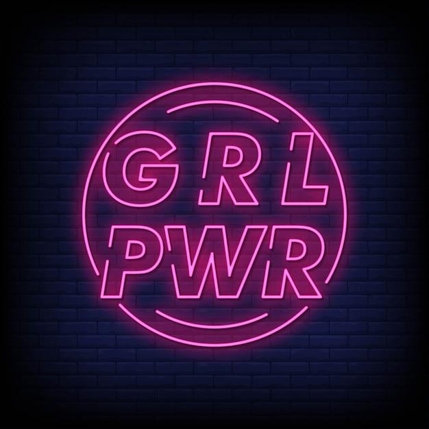 Girl power neon sign Premium Vektoren