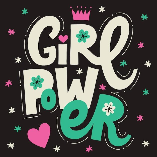 Girl power schriftzug poster. perfekt für drucke und soziale medien Premium Vektoren