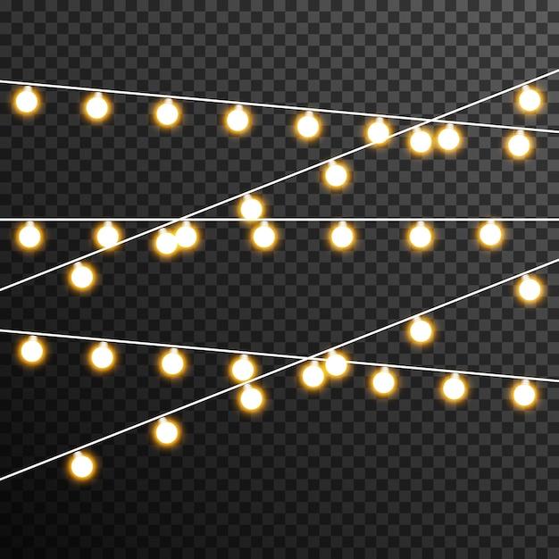Girlande glühbirne dekoration transparent Premium Vektoren