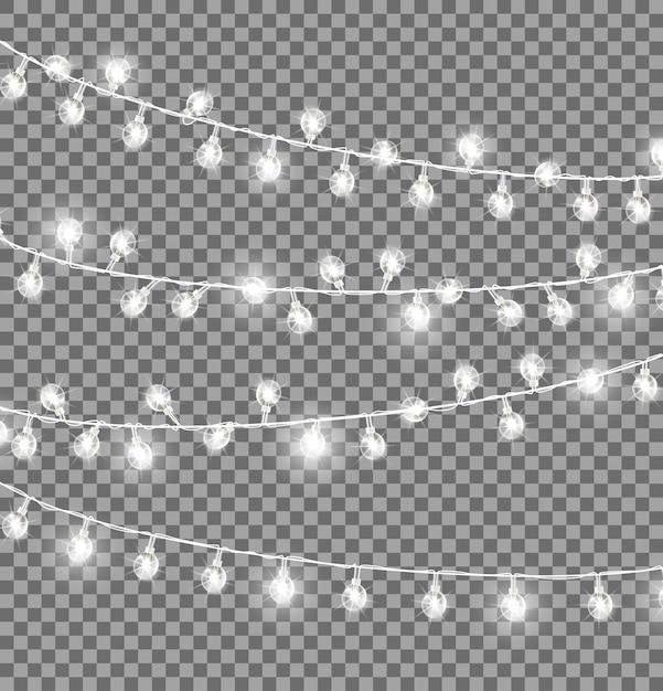 Girlanden mit runden glühbirnen Premium Vektoren