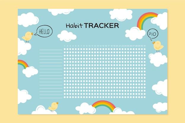 Girly habit tracker vorlage mit wolken und regenbogen Kostenlosen Vektoren