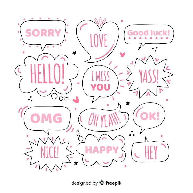 Girly hand gezeichnete spracheblasen mit verschiedenen ausdrücken Kostenlosen Vektoren