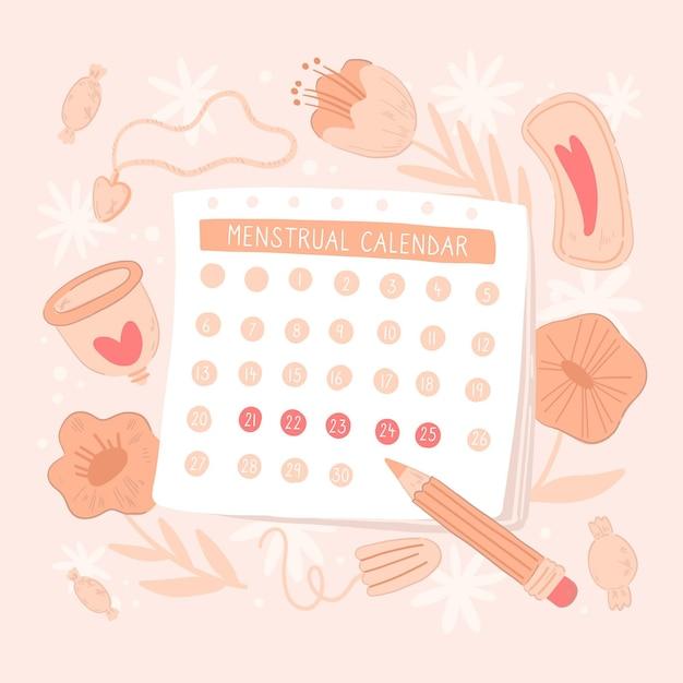 Girly menstruationskalender konzept Kostenlosen Vektoren
