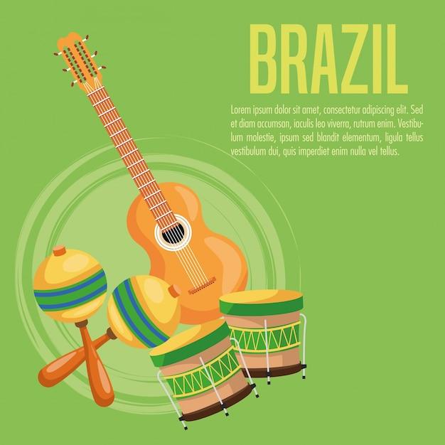 Gitarre trommel und maraca-symbol. brasilien kultur amerika Premium Vektoren