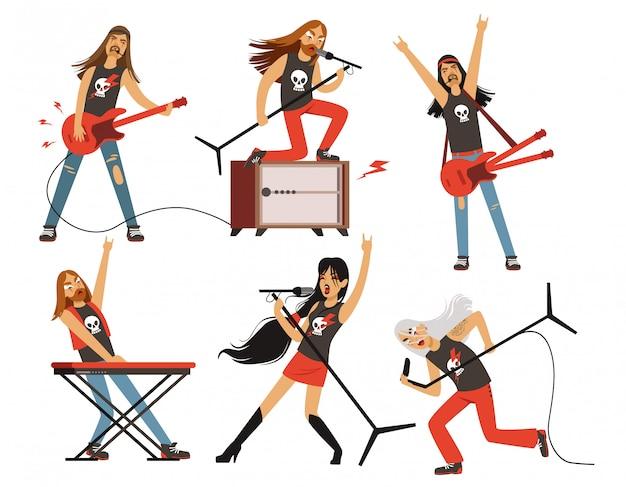 Gitarre, verstärker und andere musikausrüstung Premium Vektoren