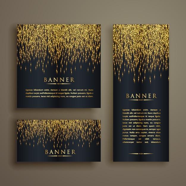 Glänzend goldenen partikel stil banner-set Kostenlosen Vektoren