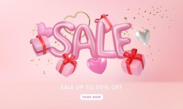 Glänzend rosa verkaufsbrief mit geschenkboxen minimal Premium Vektoren