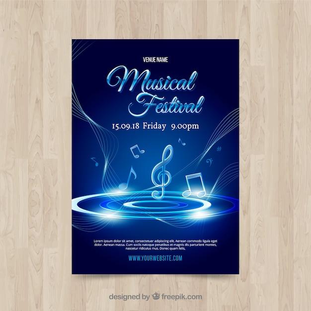 Glänzende blaue musik poster vorlage Kostenlosen Vektoren