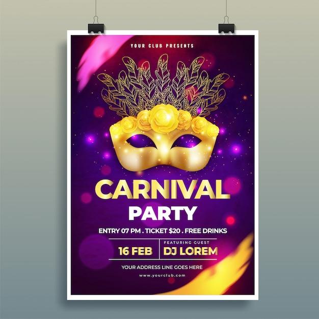 Glänzende goldene karnevalsmaskenillustration auf purpurrotem bokeh backgrou Premium Vektoren
