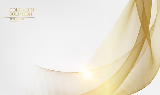 Glänzende goldene linien über weißem hintergrund. Kostenlosen Vektoren