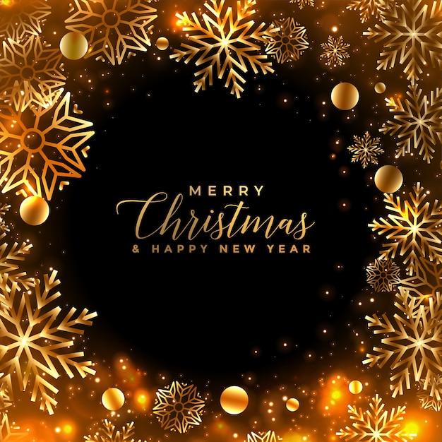 Glänzende goldene weihnachtsschneeflocken-grußkarte Kostenlosen Vektoren