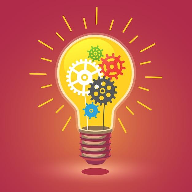 Glänzende helle idee glühbirne mit zahnrädern Kostenlosen Vektoren