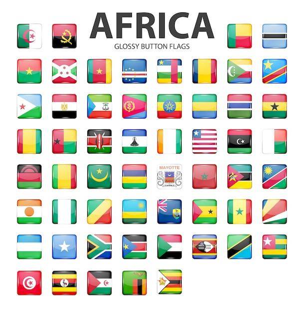 Glänzende knopfflaggen afrika originalfarben Premium Vektoren