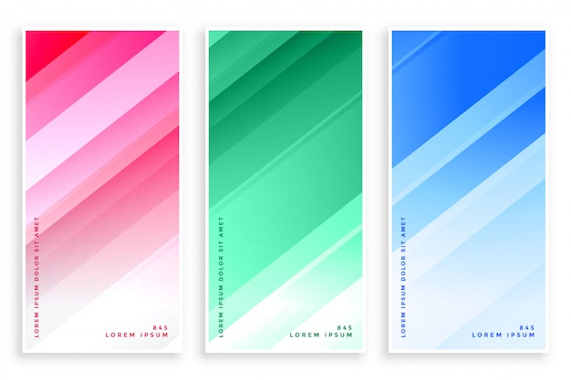 Glänzende linien der eleganten farben geschäftsfahnensatz Kostenlosen Vektoren