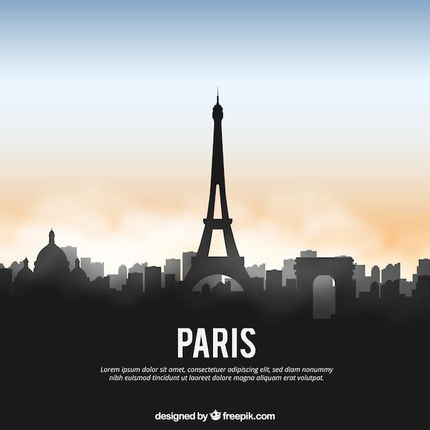 Glänzende paris skyline Kostenlosen Vektoren