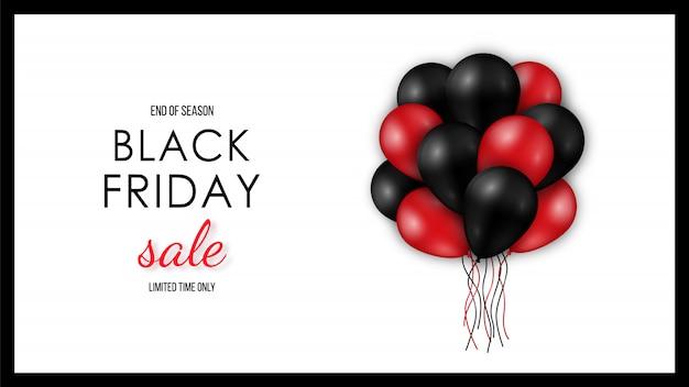 Glänzende schwarze und rote ballone auf weißem hintergrund. Premium Vektoren