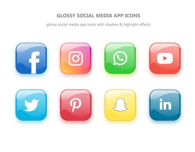 Glänzende social media app-symbole mit höhen- und prägeeffekten Premium Vektoren