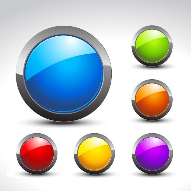 Glänzende tasten set von sechs bunten design Premium Vektoren