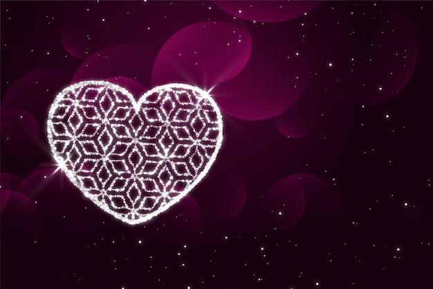 Glänzender funkelt purpurroter valentinstaghintergrund des herzens Kostenlosen Vektoren