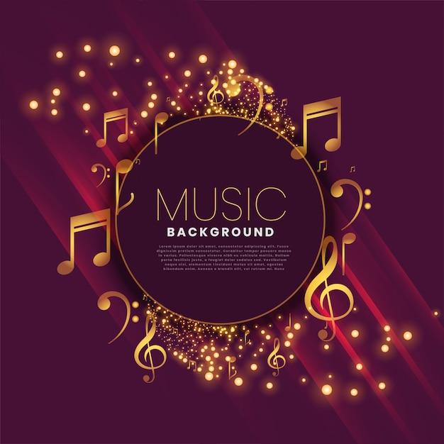 Glänzender musikhintergrund mit anmerkungen und schein Kostenlosen Vektoren