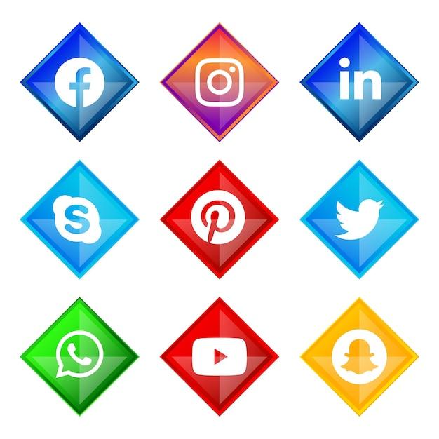Glänzender silberner rahmen social-media-symbol-button von facebook instagram linkedin skype pinterest twitter whatsapp youtube und snapchat mit verlaufseffekt für die online-nutzung der ux-benutzeroberfläche Premium Vektoren