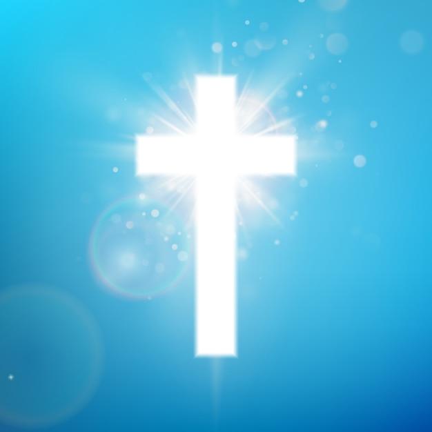 Glänzender weißer kreuzeffekt auf blauem himmel. leuchtendes heiliges kreuz. riligious symbol. oster- und weihnachtszeichen. Premium Vektoren