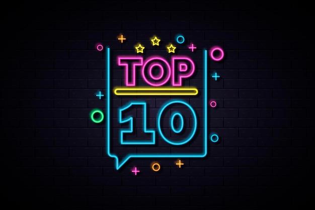 Glänzendes buntes neon-top-ten-zeichen Kostenlosen Vektoren