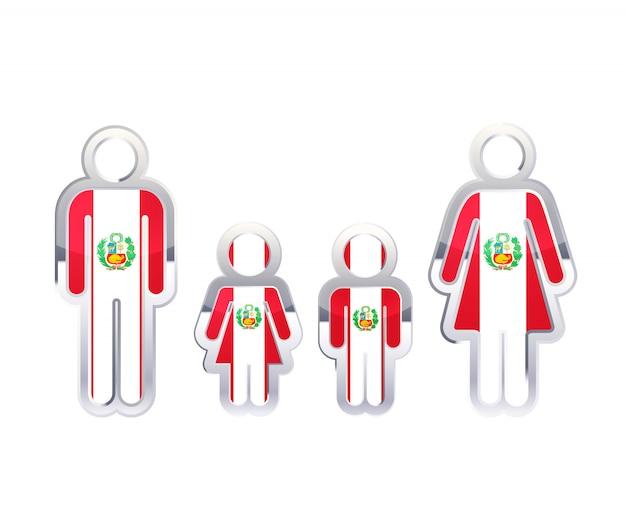 Glänzendes metallabzeichenikone in den mann-, frauen- und kinderformen mit peru-flagge, infografikelement auf weiß Premium Vektoren