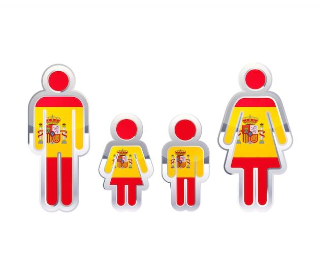Glänzendes metallabzeichenikone in den mann-, frauen- und kinderformen mit spanien-flagge, infographisches element lokalisiert auf weiß Premium Vektoren