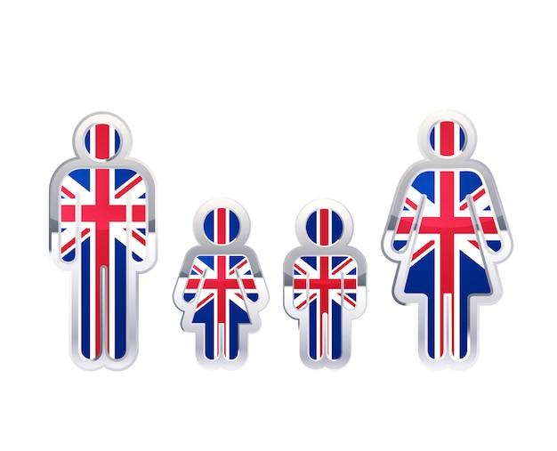 Glänzendes metallabzeichenikone in mann-, frauen- und kinderformen mit großbritannien-flagge, infografikelement auf weiß Premium Vektoren