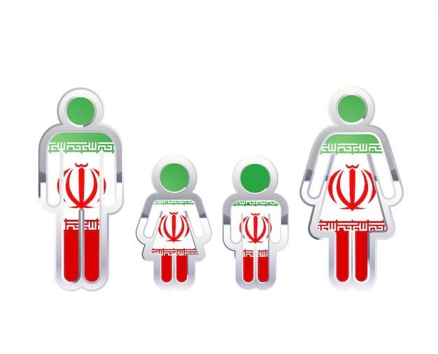 Glänzendes metallabzeichenikone in mann-, frauen- und kinderformen mit iran-flagge, infografikelement lokalisiert auf weiß Premium Vektoren