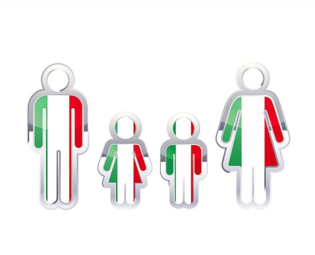 Glänzendes metallabzeichenikone in mann-, frauen- und kinderformen mit italienflagge, infografikelement auf weiß Premium Vektoren